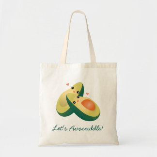 Let's Avocuddle Funny Cute Avocados Pun Humor Tote Bag
