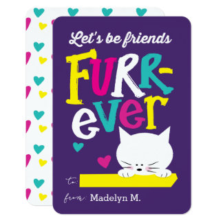 Let's be Friends FURR-ever Classroom Valentine Card