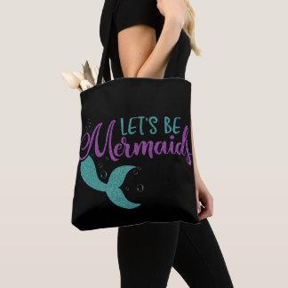 Let's be mermaids Purple Teal Glitter Texture Tote Bag
