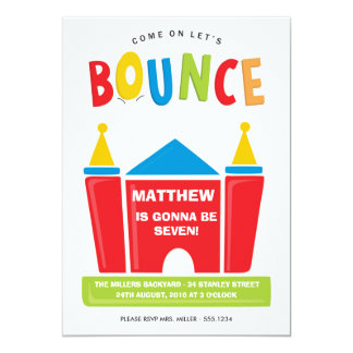Let's Bounce Birthday Party Invitation