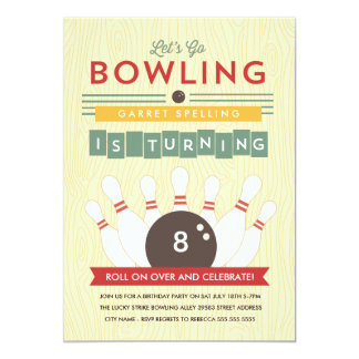 Let's Bowl! Birthday Party Invitation