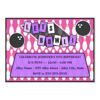 Let's Bowl Bowling Party Birthday Invitation pink