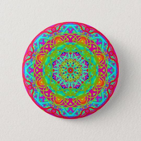 Let's Celebrate Colourful Mandala 6 Cm Round Badge