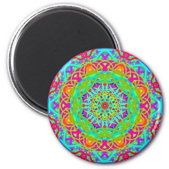 Let's Celebrate Colourful Mandala 6 Cm Round Magnet