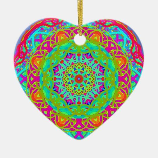 Let's Celebrate Colourful Mandala Ceramic Heart Decoration