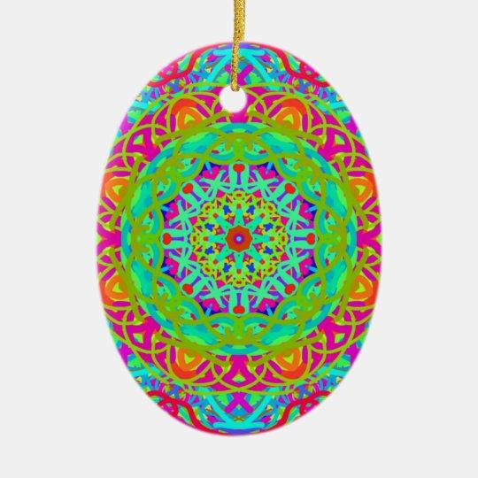 Let's Celebrate Colourful Mandala Ceramic Oval Decoration