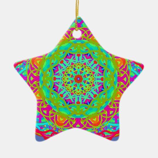 Let's Celebrate Colourful Mandala Ceramic Star Decoration