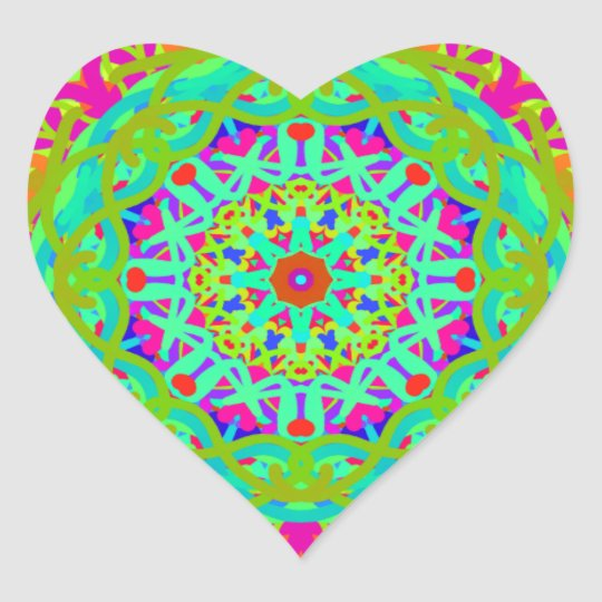Let's Celebrate Colourful Mandala Heart Sticker