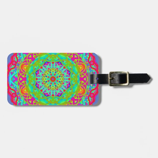 Let's Celebrate Colourful Mandala Luggage Tag