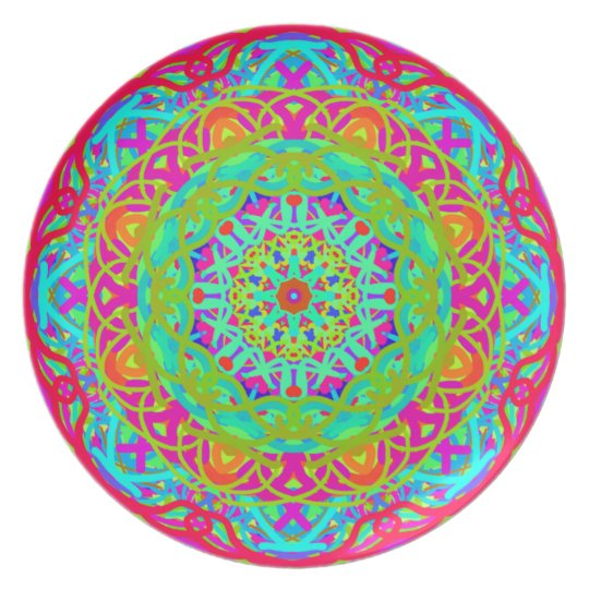 Let's Celebrate Colourful Mandala Plate