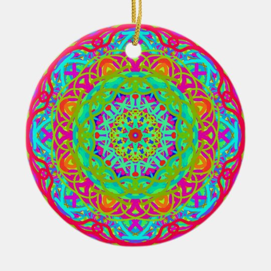 Let's Celebrate Colourful Mandala Round Ceramic Decoration