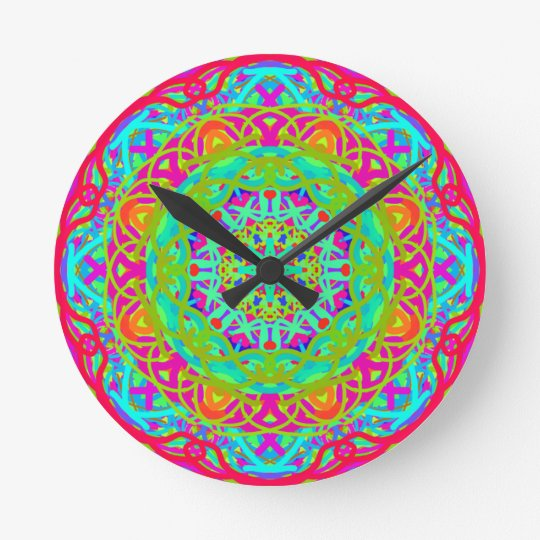 Let's Celebrate Colourful Mandala Round Clock