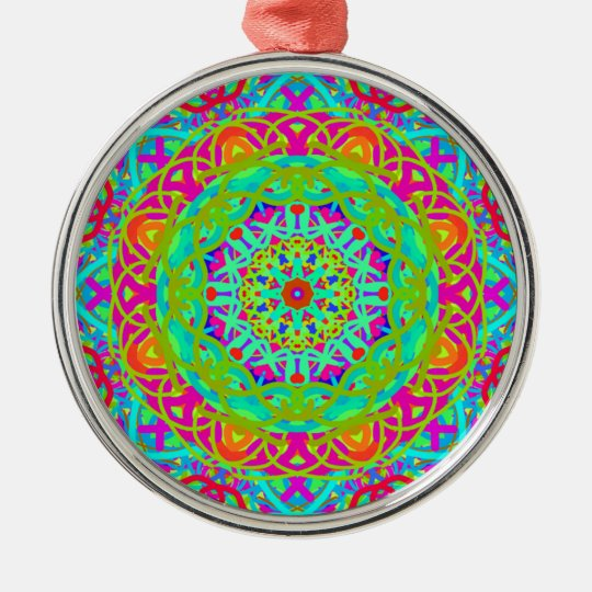 Let's Celebrate Colourful Mandala Silver-Colored Round Decoration