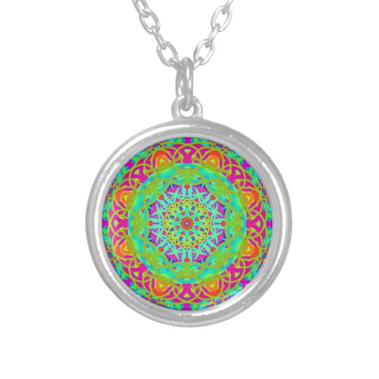Let's Celebrate Colourful Mandala Silver Plated Necklace