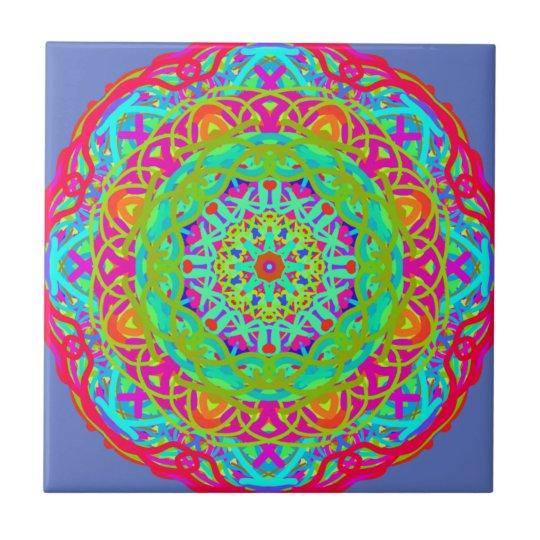 Let's Celebrate Colourful Mandala Small Square Tile