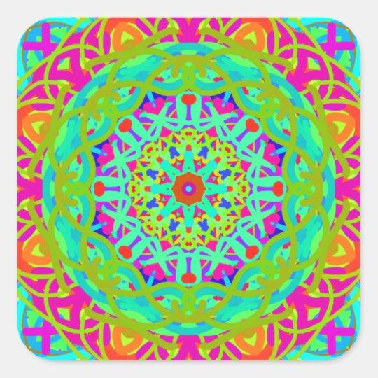 Let's Celebrate Colourful Mandala Square Sticker