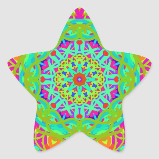 Let's Celebrate Colourful Mandala Star Sticker