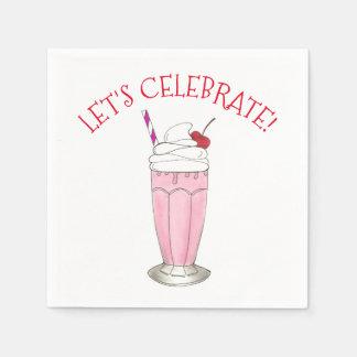 Let's Celebrate Party Birthday Ice Cream Milkshake Disposable Serviette