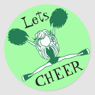 Lets Cheer Green Cheerleader Classic Round Sticker