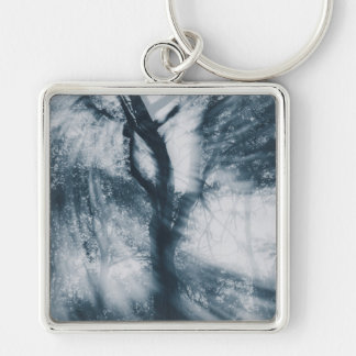 Let's Dance (Blue) Silver-Colored Square Key Ring