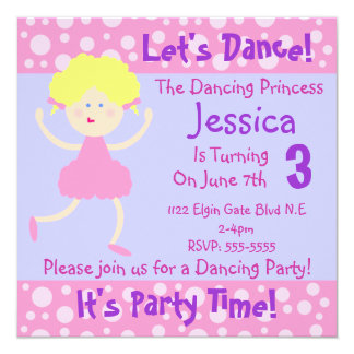 Let's Dance ~ It's Party Time~Kids Birthday Party Card