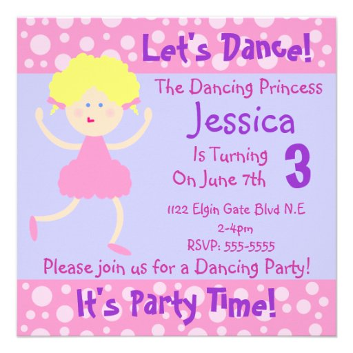 Let's Dance ~ It's Party Time~Kids Birthday Party Personalized Invitations
