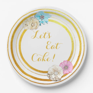 Let's Eat Cake Pink & Blue Floral  Paper Plates 9 Inch Paper Plate