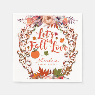 Let's Fall In Love Autumn Floral Wedding Disposable Serviette
