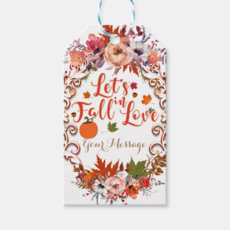 Let's Fall In Love Autumn Floral Wedding Favor Gift Tags