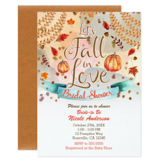 Let's Fall in Love Autumn Pumpkin Bridal Shower Card