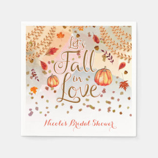 Let's Fall in Love Bridal Shower Autumn Leaves Disposable Serviettes