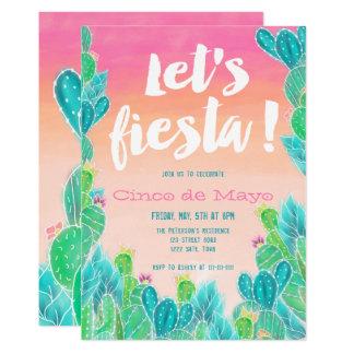 Lets fiesta Cacti pattern watercolor Cinco de mayo Card