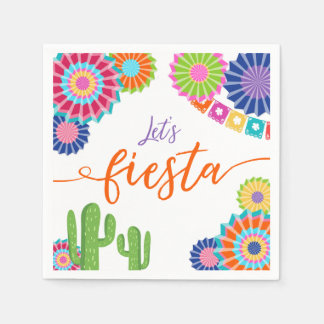 Let's fiesta Paper Napkin Mexican Cactus Floral