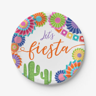 Let's fiesta Paper Plates Mexican Cactus shower