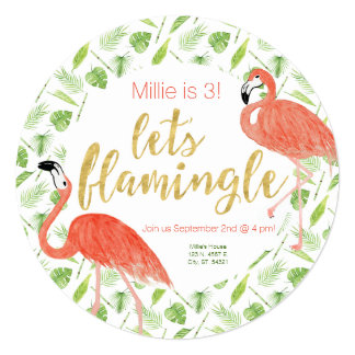 Let's Flamingle Party Invitation – Circle