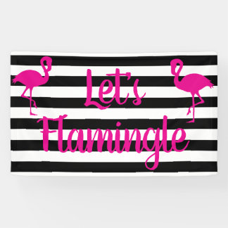 Let's Flamingle Pink Flamingo Banner