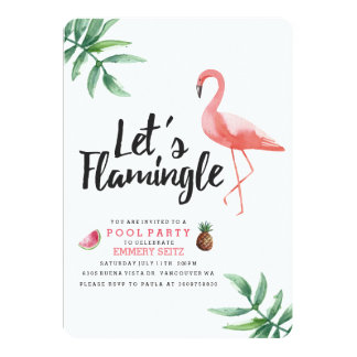 Let's Flamingle Pool Party Invitation