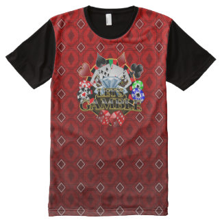 Let's Gamble  red Diamonds All Printed T-Shirt