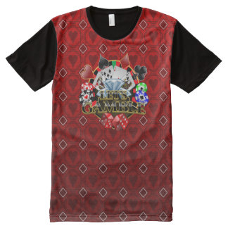 Let's Gamble  red Hearts All Printed T-Shirt