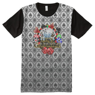 Let's Gamble white Clubs All Printed T-Shirt