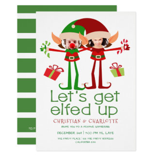 Lets Get Elfed Up Christmas Party Personalised Card