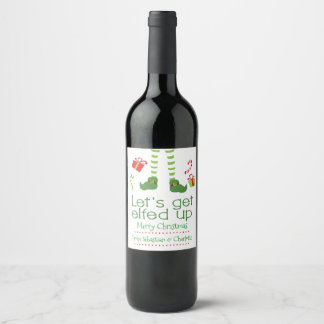 Lets Get Elfed Up Christmas Personalised Wine Label