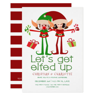Lets Get Elfed Up Funny Christmas Personalised Card