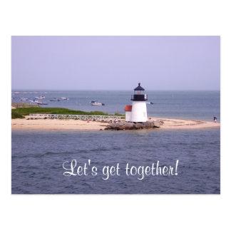 Let's Get Together Nantucket Lighthouse Post Card