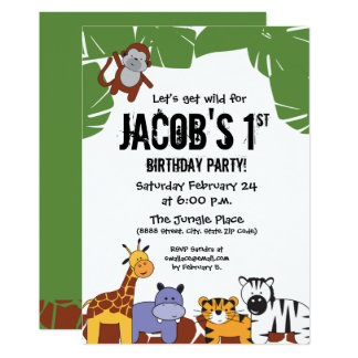 """""""Let's get wild"""", Jungle 1st birthday with animals Card"""