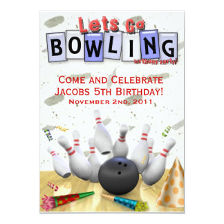 Let's Go Bowling Birthday Party Card
