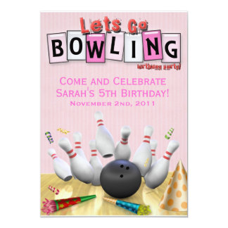 Let's Go Bowling Birthday Party 13 Cm X 18 Cm Invitation Card