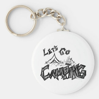 Let's Go Camping Outdoor Design Key Ring