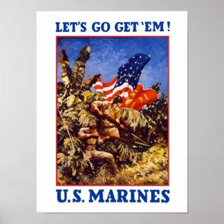 Let's Go Get 'Em! Marines Poster