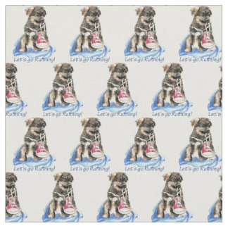 """Let's Go Running"" Cute German Shepherd dog pet Fabric"